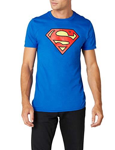 Superman DC Logo T-Shirt Col Ras du Cou Manches Courtes Homme - Bleu - Large