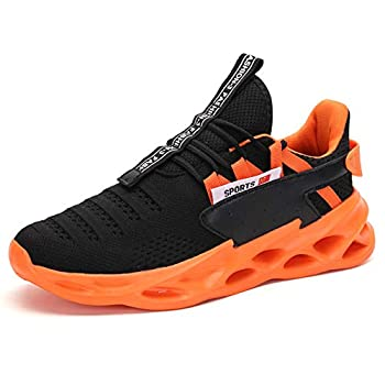 Mens Running Walking Tennis Shoes Youth Fashion Blade Sneakers Mesh Breathable Gym Athletic Shoes Orange 6.5