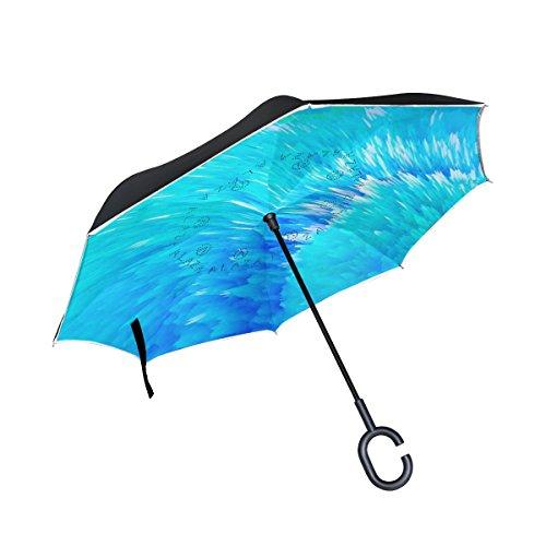isaoa Große Schirm Regenschirm Winddicht Doppelschichtige seitenverkehrt Faltbarer Regenschirm für Auto Regen Außeneinsatz,C-förmigem Henkel Regenschirm Splash of Science Regenschirm