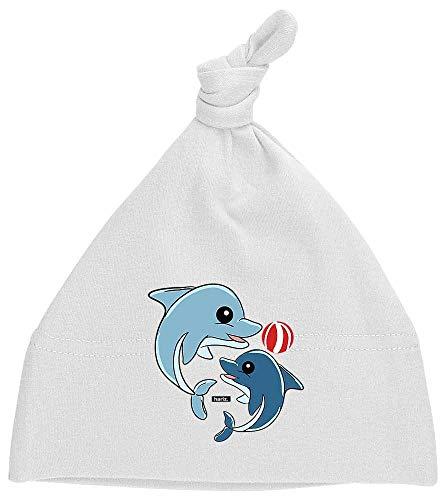 HARIZ Baby Mütze Knoten Delfine Spielend Mit Wasserball Süß Tiere Dschungel Plus Geschenkkarten Milchzahn Weiß