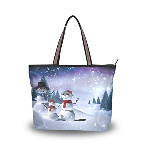 Ladies Tote Bags Polyester Zippered Tote Shoulder Bag Christmas Purses and Handbags