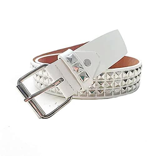 Cinturón Punk con ojales, Cinturones con ojales con agujeros, Cinturón con ojales de cuero PU para vestido de jeans, Cinturón con tachuelas Cinturón negro Cinturón piramidal de metal,Blanco