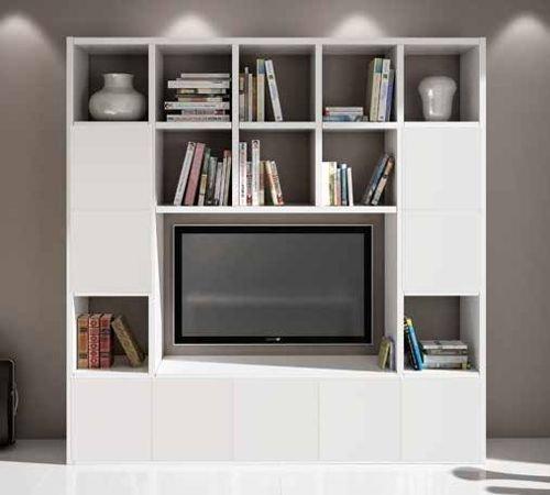 Legno&Design Meuble mural équipé pour TV séjour blanc frêne 20 éléments 9 portes