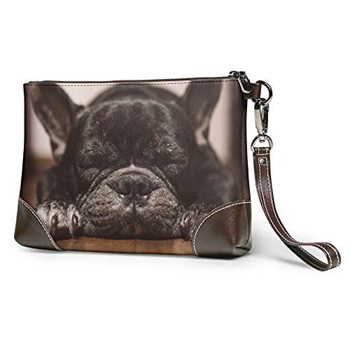 Baby French Bulldog in Sleep Leather Clutch for Women Oversized Bag Purse Wristlet Handbag