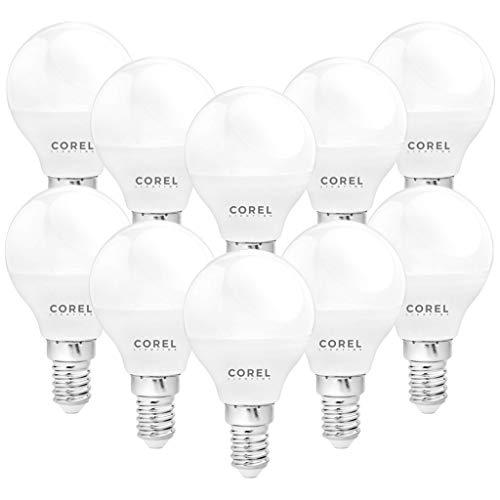 COREL - Lampadina LED G45 E14, 5W (equivalenti a 35W), 6500K 400 lumen, luce bianca fredda, RISPARMIO energetico, angolo 220°, accensione ISTANTANEA, colore FROST, vita 15000 ore (10)