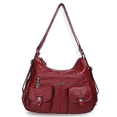 Angelkiss Women's Multifunctional Shoulder Hobo Bag Soft Leather Messenger Crossbody Purse Satchels Handbags with Zipper Red