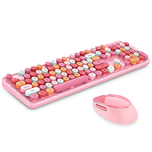 Onlywe Wireless Keyboard and Mouse Combo,2.4G USB Ergonomic Sweet Mixed Color Cute Full Size Keyboard with Numeric Keypad and Optical Mice Set for Computer Desktop PC Laptop-2020 Newest (Pink)