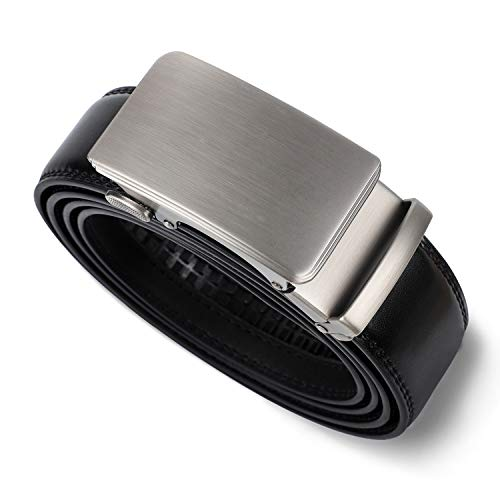 LAKIDAY Gürtel Herren Ratsche Automatik Gürtel für Männer Herren Gürtel aus Leder 35mm Breiter Ledergürtel Schwarz 1-Schwarz-120CM
