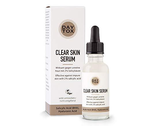 DAYTOX – Clear Skin Serum – Anti-Pickel Serum mit 2% Salicylsäure für porentief reine Haut – Vegan, ohne Farbstoffe, Silikone und Parabene – 30 ml
