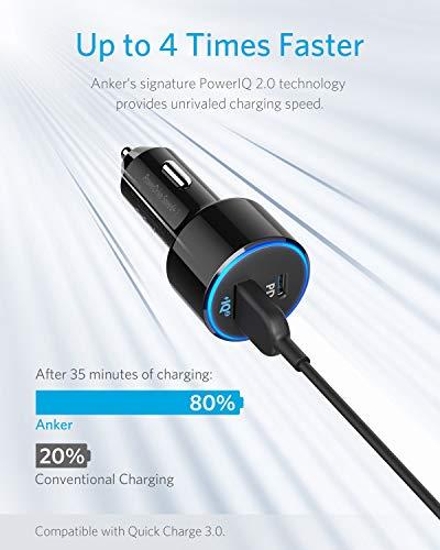 Anker Auto Ladegerät PowerDrive Speed+ 2, USB C Kfz Ladegerät 2 Port 49W mit Power Delivery für MacBook Pro/Air 2018,iPad Pro 2018,iPhone XS Max/XR/XS/X und mit PowerIQ 2.0 für Samsung S9/S8 und mehr