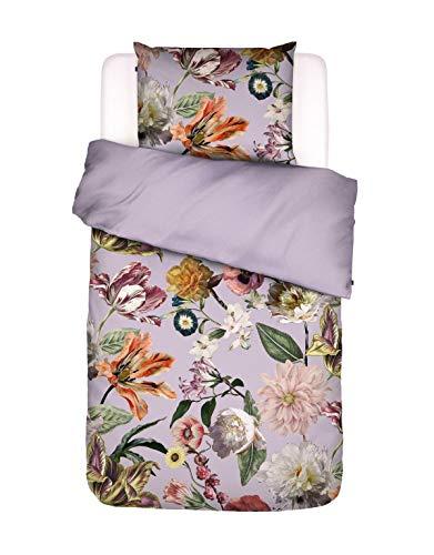 ESSENZA Bettwäsche Filou Blumen Pfingstrosen Tulpen Baumwollsatin Flieder, 135X200 + 1X 80X80 cm