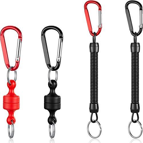 2 Piezas Soporte de Liberación de Red Magnética Gancho Metal de Llavero con Clip de Liberación Neta con 2 Piezas Clip de Bobina Llavero de Primavera para Volar Pescar Escalar