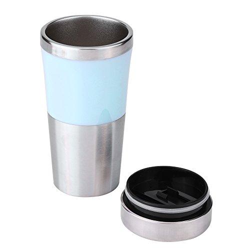 Fdit Tasse Electrique Bouilloire d'eau 350ml 12v Voiture en Acier Inoxydable Allume-Cigare Chauffage 3 Couleurs(Bleu)