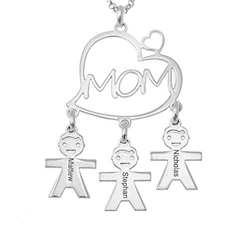 Collar familiar personalizado Collar con nombre MOM Heart & Kid Colgante Collar de plata 925 Día de Acción de Gracias para mamá(Plata 22)