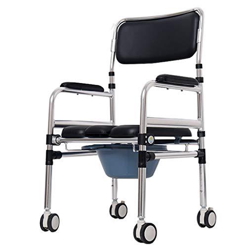 Duschkabine Toilettenstuhl Fahrbarer Stuhl Badezimmer Aluminium Rollstuhl Transportstuhl Gepolsterter Duschstuhl Duschrollstuhl mit 4 Bremsen, abnehmbares Pedal für ältere Menschen, Behinderte