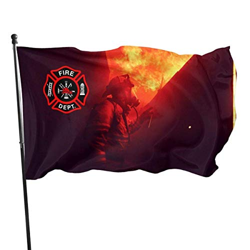 Viplili Flagge/Fahne, Weather Resistant Fire Department Logo Firefighter Garden Flag, Game Flag - 3 X 5 Ft