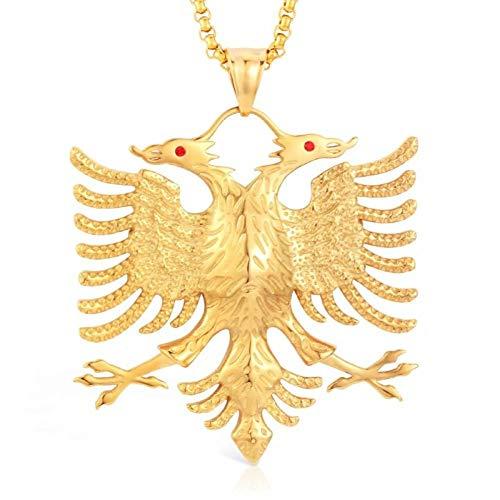 XIAOSO Flagge Albaniens Anhänger mit Adler Russische Emblem Halskette Wappen Adler mit Zwei Köpfen Edelstahlanhänger Kette