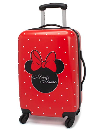Disney Minnie Mouse Suitcase for Adults & Kids | Cabin Small Medium Or Large Options Luggage Bag | Women's Girls Red Hard Cover Carry On Travelling Trolley