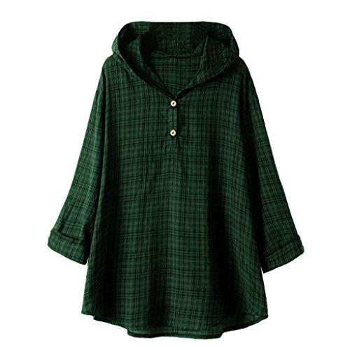 QIMANZI Übergröße Damen Lange Ärmel Kaftan Ausgebeult Taste Bettwäsche aus BaumwolleTunika Bluse(Zy Grün,4XL)