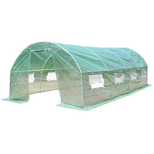 Costway Serre de Jardin Tunnel Tente de Plante avec 8 Fenêtres Tissu de PE Tube d'Acier 3 x 6 x 2 m Verte