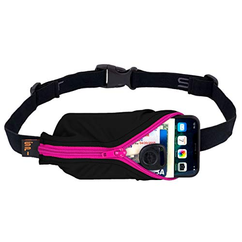 SPIbelt Running Belt Large Pocket, No-Bounce Waist Pack for Runners, Fanny Pack for iPhone 6 7 8-Plus X Sport Pouch for Athletes and Adventurers Hot Pink Zipper
