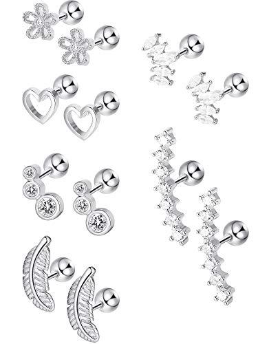 6 Pairs Stainless Steel Cartilage Tragus Earrings Stud CZ Barbell Earrings Body Jewelry Piercing Set for Women Girls, 6 Styles (Steel)