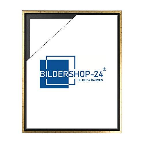 Bildershop-24 Schattenfugenrahmen mit Schattenfuge Layka Rahmen für Keilrahmenbilder und Leinwände 30 X 40cm Schwarz Goldglanz Antik