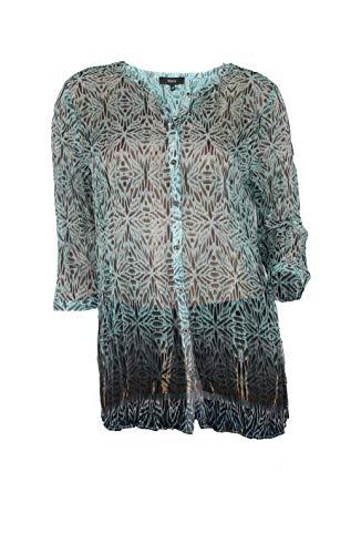 Bonita Damen Bluse Hemd grün durchsichtig leicht (38)