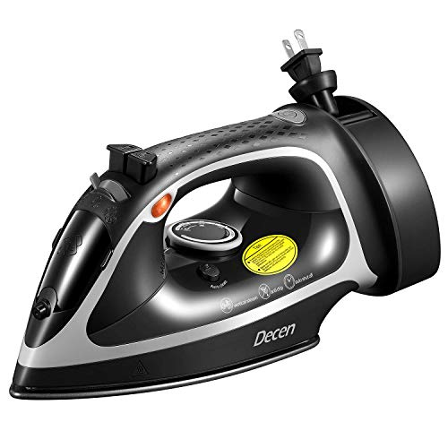 Decen 1600W Steam Iron with Anti-drip Nonstick Stainless Steel Plate, Iron with Self-Clean, 5 Level Temperature Control & Retractable Cord, Auto Shutoff, Anti Scale, Rapid Heating, Vertical Ironing