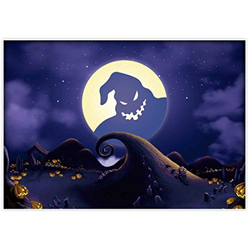 Allenjoy 7x5ft Halloween Pumpkin Backdrop Supplies Before Christmas Moonlight Children Photography Background Horrible Party Birthday Banner Baby Shower Family Home Decorations Photo Booth