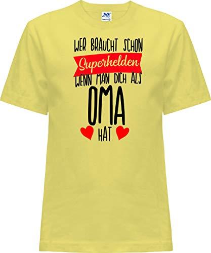 Kleckerliese T-shirt à manches courtes pour enfant Motif Nicki avec motif qui a besoin de super-héros quand on vous a besoin en tant que OMA - Jaune - 2 ans
