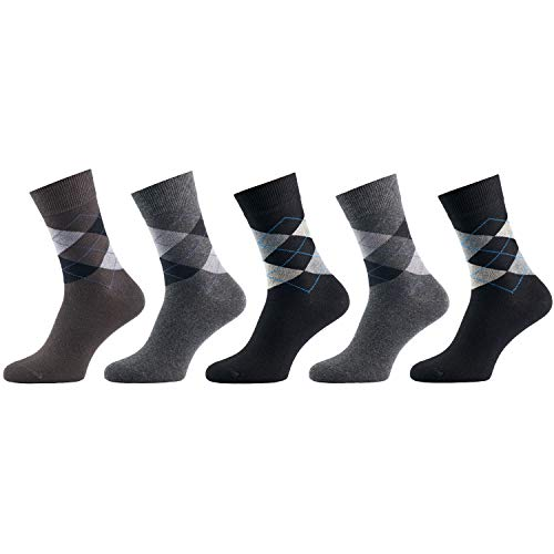 5 Paar Socken von Mat & Vic's für Sie und Ihn - Cotton classic Socks, gekämmte Baumwolle, ohne drückende Naht, Komfortbund, OEKO-TEX Standard 100, Jeans Mix 1, 43-46
