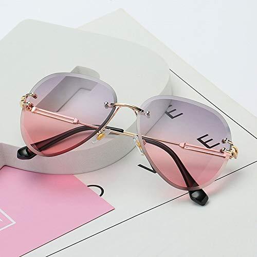 #N/V Gafas de sol sin montura para mujer con lentes de corte de gradiente y lentes de metal sin marco UV 400 Vintage Redondo