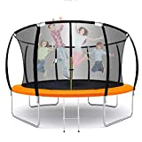 12FT Trampoline for Kids and Adults with Enclosure Net Outdoor Recreational Trampoline with Basketball Hoop for Kids & Family Fitness at Backyard Heavy Duty Frame Waterproof Bouncing Mat