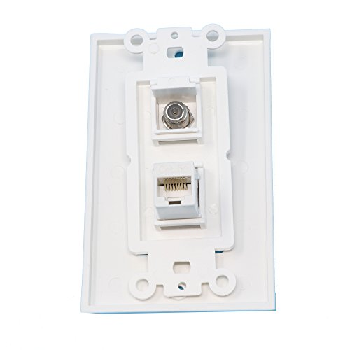 RiteAV - 1 Port Coax Port Cable TV F Type - 1 Port Cat5e Ethernet White Decorative Wall Plate