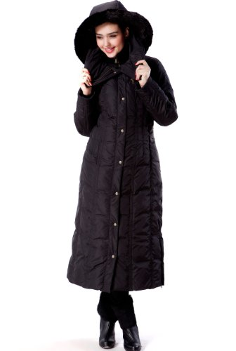 BGSD Women's Lacey Water Resistant Maxi Down Coat Black Large