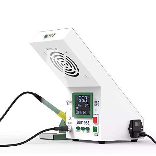 Riiai Estación de soldadura antiestática de la temperatura con el instrumento de fumar que fuma el soldador eléctrico del termostato de la iluminación LED