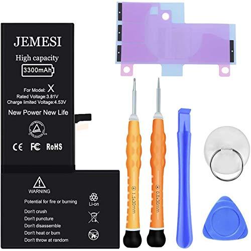 JEMESI 3300mAh Batería iPhone X, con una Capacidad 22% más Grande Que la batería Original, con un Kit Completo de Herramientas de Reparación, Instrucciones de Uso, 2 año de Garantía