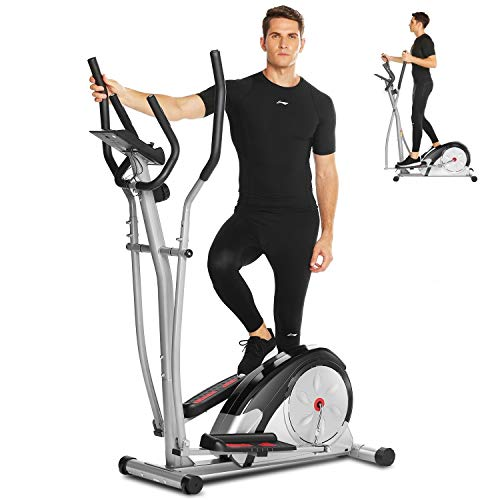 ANCHEER Crosstrainer für Zuhause, 2021 Ellipsentrainer für den Heimgebrauch mit Pulsfrequenz-Griffen, magnetisch, glatt, leise angetrieben, maximale Kapazität Gewicht 120kg (Grau)