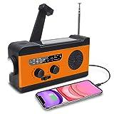 SYXZ Radio de manivela Solar, Radio de Emergencia meteorológica Am/FM/WB con Linterna LED, batería de 2000 mAh para Cargador de teléfono,Naranja
