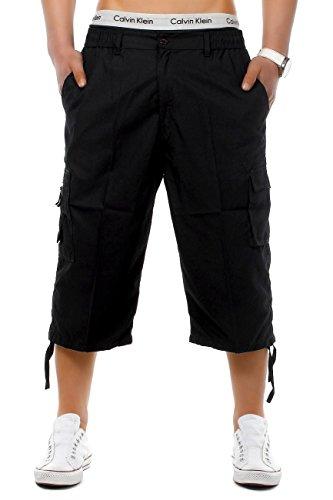 EGOMAXX Herren Cargo Shorts 3/4 Bermuda Freizeit Hose Capri mit verschließbaren Seiten Taschen, Farben:Schwarz, Größe Shorts:XXL