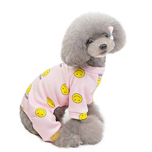 Mengyatt Pet-Winter-warme Pyjamas, Smiley Druck Vierbeinige Sweater Home Service, Haustier-Kleidung for kleine Hunde und Katzen (Color : Rosa, Size : L)