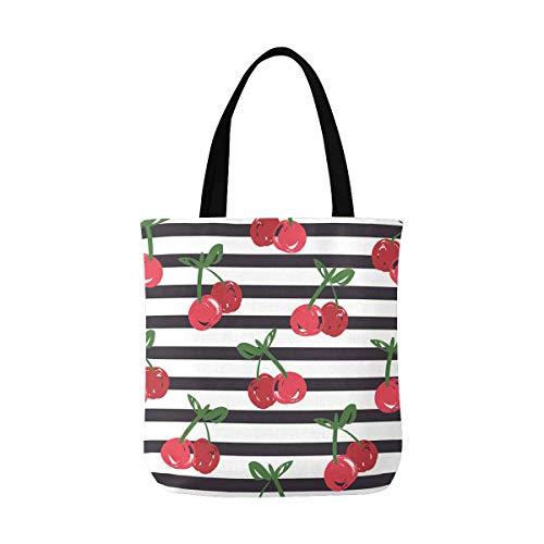 InterestPrint Tote Bag Cherry Pattern Shoulder Bag Handbag Casual Bags Gym Totes for Women Teen Girls