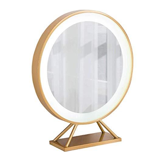 El maquillaje de los espejos, la ronda de oro europea de hierro forjado con la luz de escritorio LED de la mesa de complemento de escritorio (tamaño: 30 * 14 * 53 cm) ( Size : 30*14*63cm )