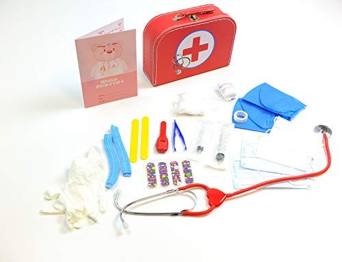 Unbekannt Doktor Koffer / Stabiler Pappkoffer mit Metallgriff / mit medizinischen Instrumenten und Zubehör / Material: Pappe, Metall + Kunststoff / Maße: 25 x 18 x 8 cm / für Kinder ab 3 Jahren