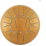 Anhon Tambor de Lengua de Acero 10 Pulgadas (25 cm) Tambor Metálico de Lengüetas Acero Handpan Drum con 11 Teclas de Notas con Bolsa Libro de Música Mazos Puntas de Dedo Oro
