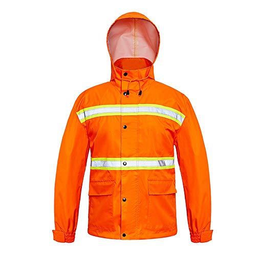 TnSok High Visibility Regen Anzug Jacke Wasserdicht Reflektierende Regen Jacke Winter warm Reflektierende Sicherheitsjacke wasserdichte PVC Arbeitskleidung Regen-Bekleidung (Color : Orange, Size : L)