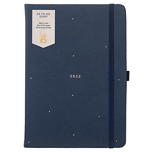 Busy B - Agenda To Do da gennaio a dicembre 2022 - Diario settimanale A5 blu navy a pois, con note, liste a strappo e tasche