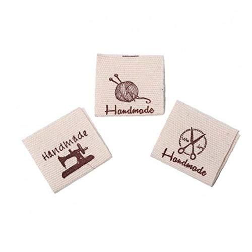 PiniceCore 50pcs waschbare Baumwolle Bekleidung Labels Handgemachte Geprägte Schlagwörter DIY Flagge Etiketten für Garment Nähzubehör