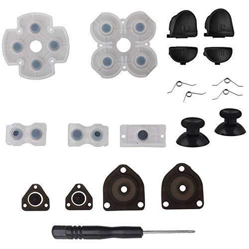 MMEI Botones de gatillo 2 resortes 2 palancas de Mando para el Pulgar 1 Juego de Destornilladores de Goma conductora para el Controlador PS4